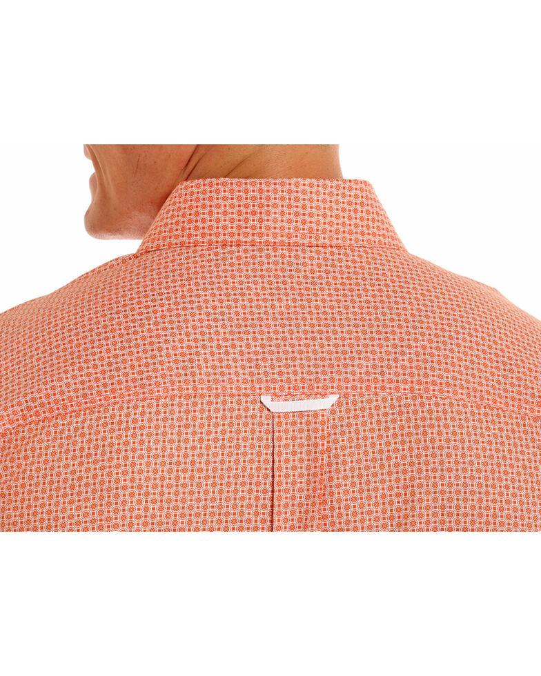 Tuf Cooper Men's Orange Competition Fit Geo Print Long Sleeve Western Shirt , Orange, hi-res