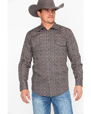 Roper Men's Black Floral Print Snap Long Sleeve Western Shirt , Black, hi-res