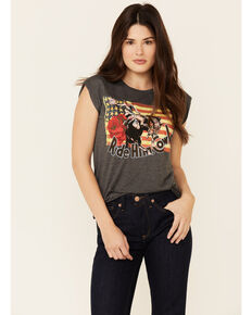 Rodeo Quincy Women's Ride Him Cowboy Graphic Short Sleeve Tee , Charcoal, hi-res