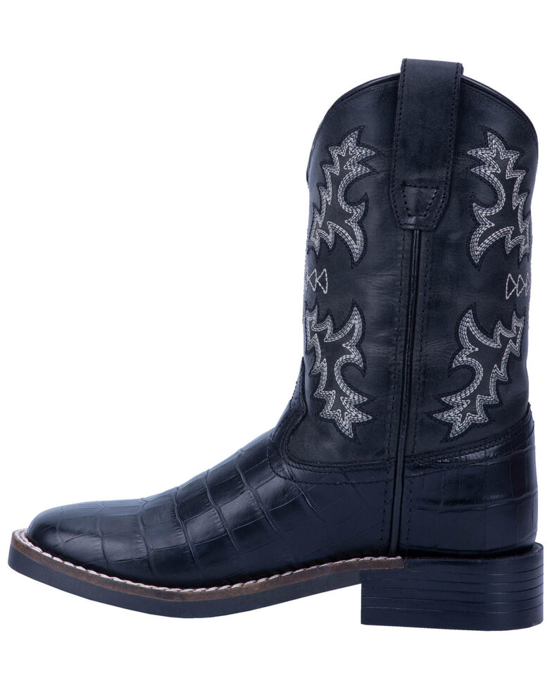 Dan Post Boys' Al E. Gator Western Boots - Wide Square Toe, Black, hi-res