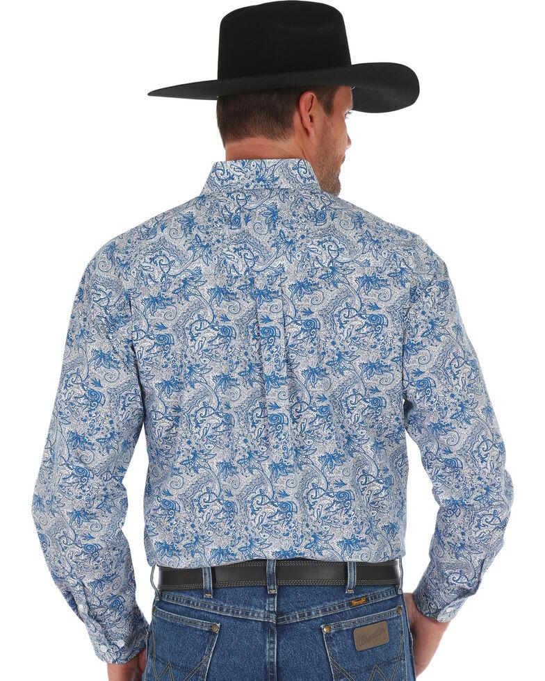 George Strait by Wrangler Men's Blue Paisley Print Button Long Sleeve Western Shirt , Dark Blue, hi-res