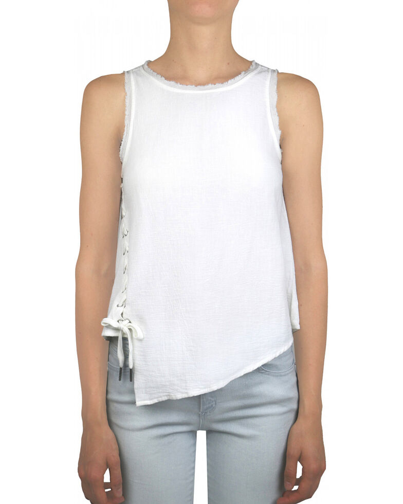 Tractr Blu Women's White Apolla Lace Up Top , White, hi-res