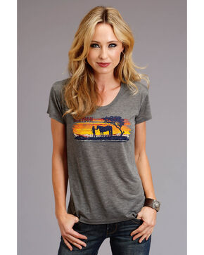 Stetson Women's Sunset Graphic Tee, Grey, hi-res