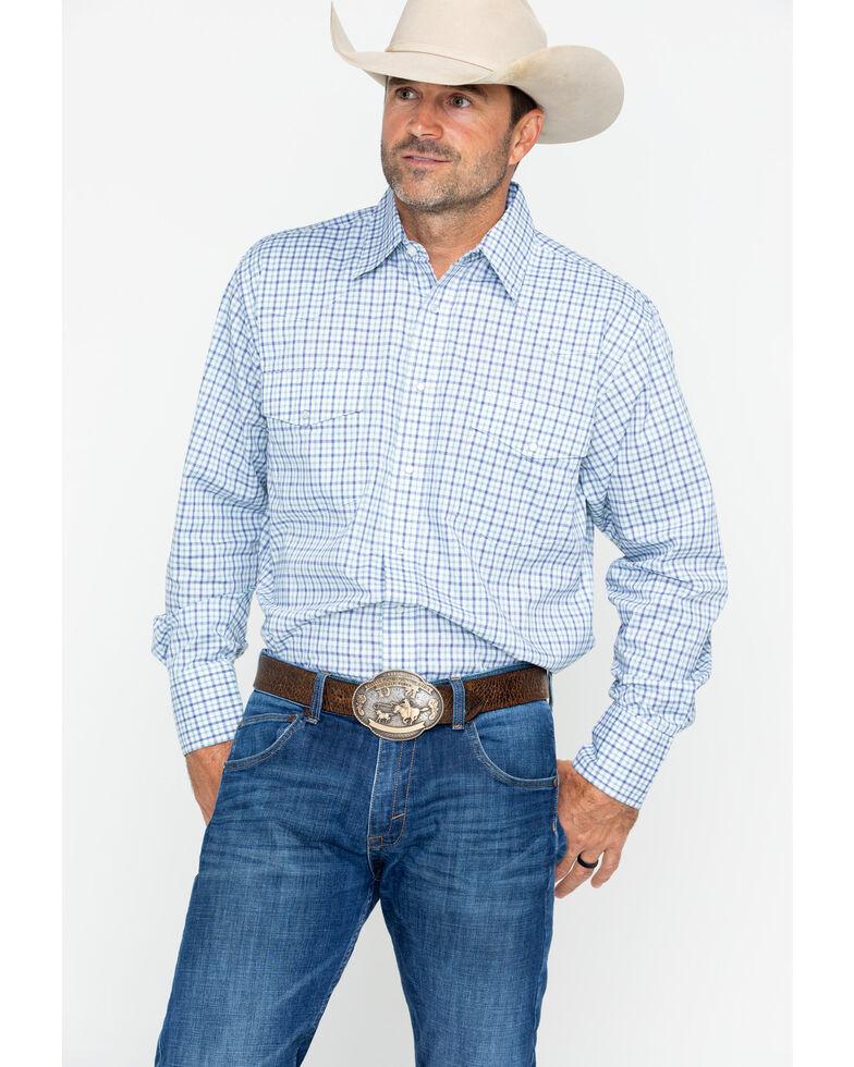 Wrangler Men's Wrinkle Resist Small Plaid Long Sleeve Western Shirt , Blue, hi-res