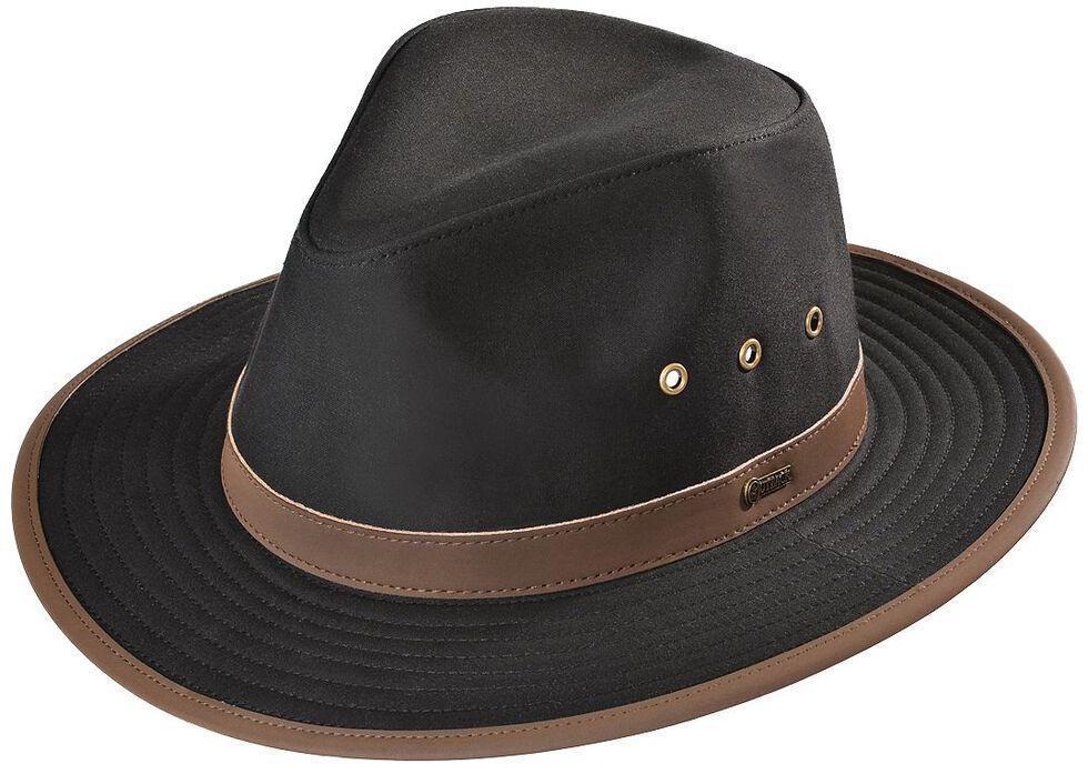 Outback Trading Co. Black Madison River UPF50 Sun Protection Oilskin Hat, Black, hi-res