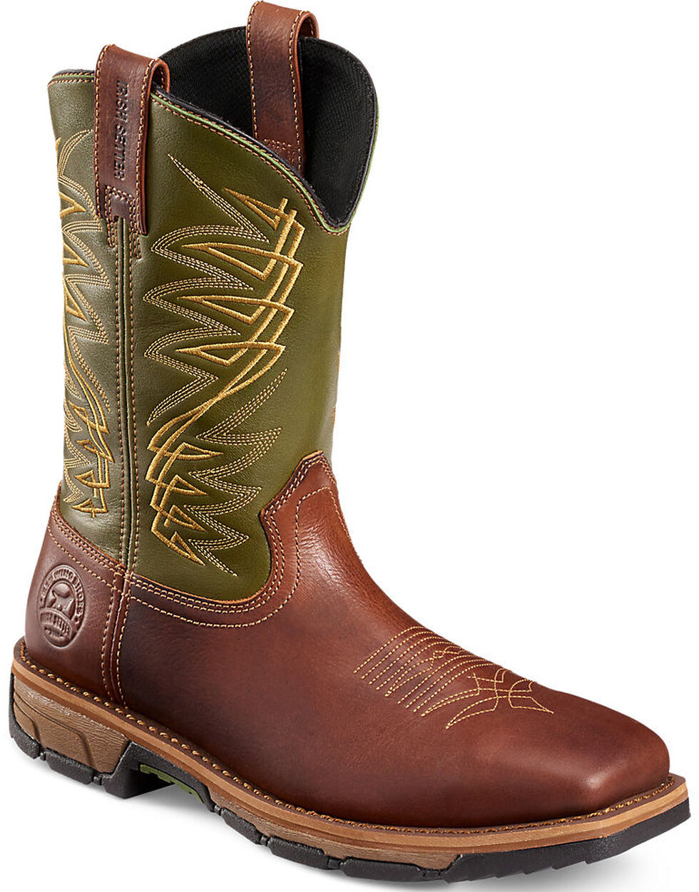 Irish Setter by Red Wing Shoes Men's Green Marshall Work Boots - Steel Toe , Brown, hi-res