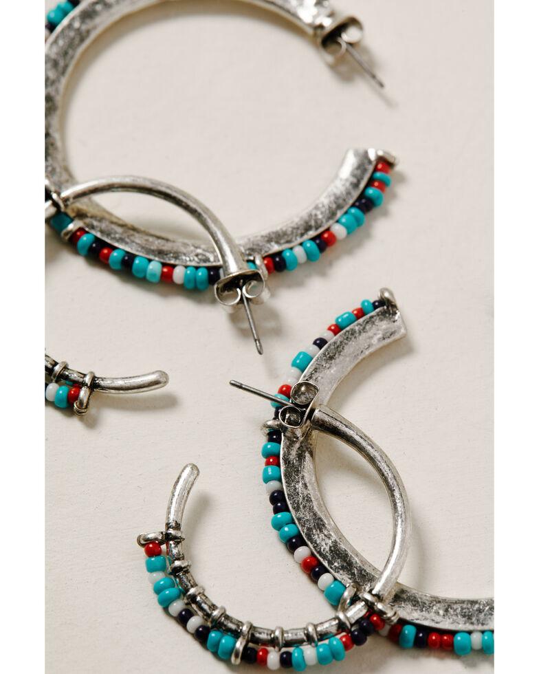 Shyanne Women's Wild Soul Multi Beaded Hoop Earring Set, Silver, hi-res