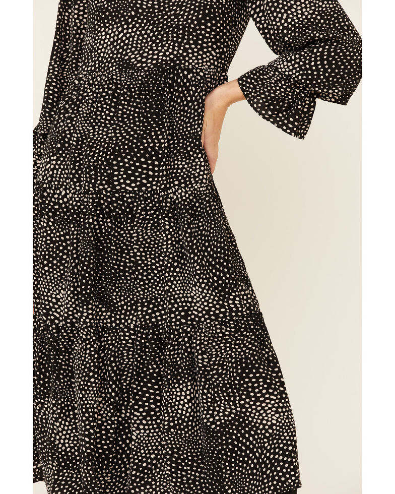 Very J Women's Black Print Tiered Maxi Dress, Black, hi-res