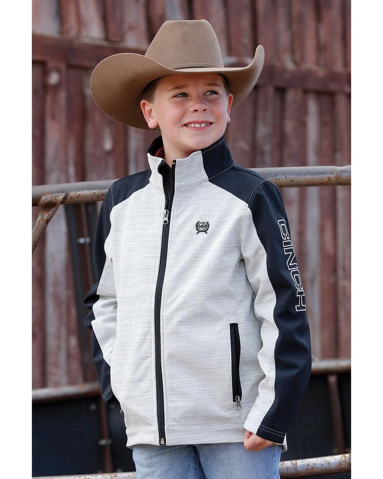 Cinch Boys' Grey Color Blocked Textured Bonded Jacket , Grey, hi-res