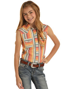 Dale Brisby For Rock & Roll Cowgirl Girls' Serape Snap Sleeveless Western Shirt, Orange, hi-res