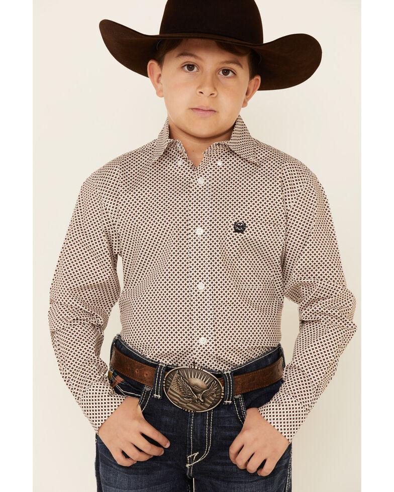 Cinch Boys' White Geo Print Button Long Sleeve Western Shirt , White, hi-res
