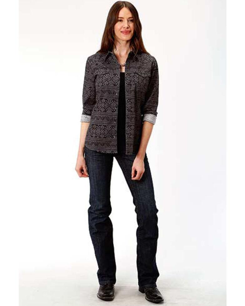 West Made Women's Black Aztec Print Long Sleeve Western Shirt , Black, hi-res