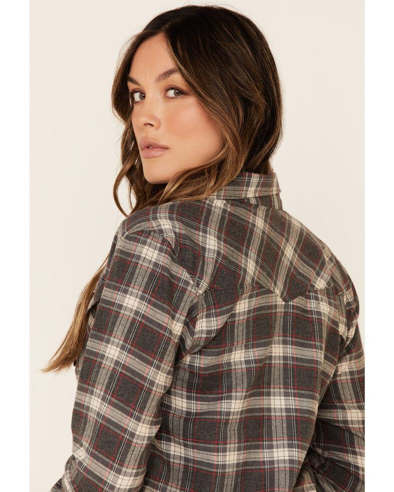 Angie Women's Black Plaid Long Sleeve Western Flannel Shirt , Black, hi-res