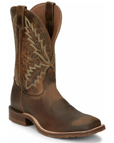 Tony Lama Men's Bowie Oak Western Boots - Wide Square Toe, Brown, hi-res