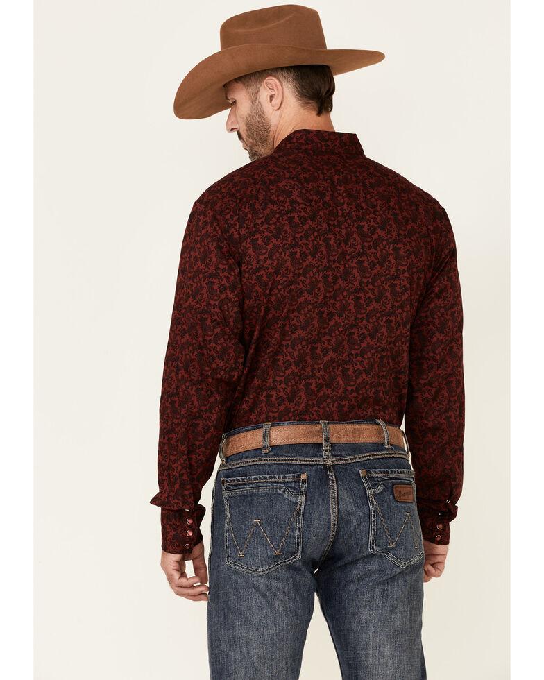 Roper Men's Wine Paisley Print Long Sleeve Snap Western Shirt , Maroon, hi-res