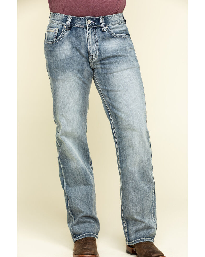Rock & Roll Denim Men's Double Barrel Light Reflex Stretch Relaxed Straight Jeans , Blue, hi-res