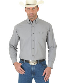 George Strait by Wrangler Men's Grey Solid Long Sleeve Western Shirt , Grey, hi-res