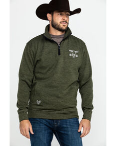 Cowboy Hardware Men's Barbed Skull Cadet Speckle Fleece Pullover Jacket , Olive, hi-res