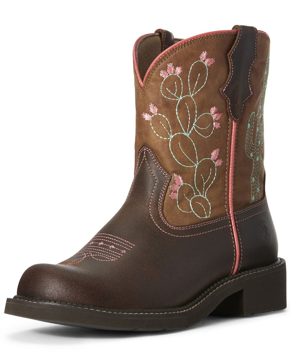 Ariat Women's Cactus Fatbaby Western Boots - Round Toe, Tan, hi-res