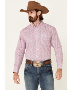 George Strait By Wrangler Men's Pink Abstract Geo Print Long Sleeve Button-Down Western Shirt , Pink, hi-res