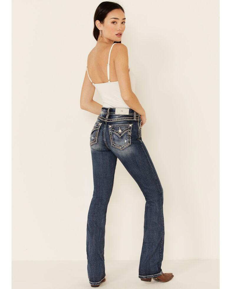 Miss Me Women's Dark Wash Chained Love Bootcut Jeans, Blue, hi-res