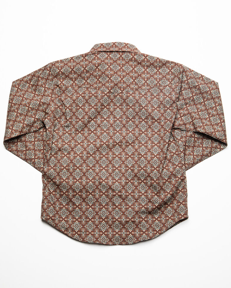 Roper Boys' Foulard Geo Print Long Sleeve Western Shirt , Brown, hi-res
