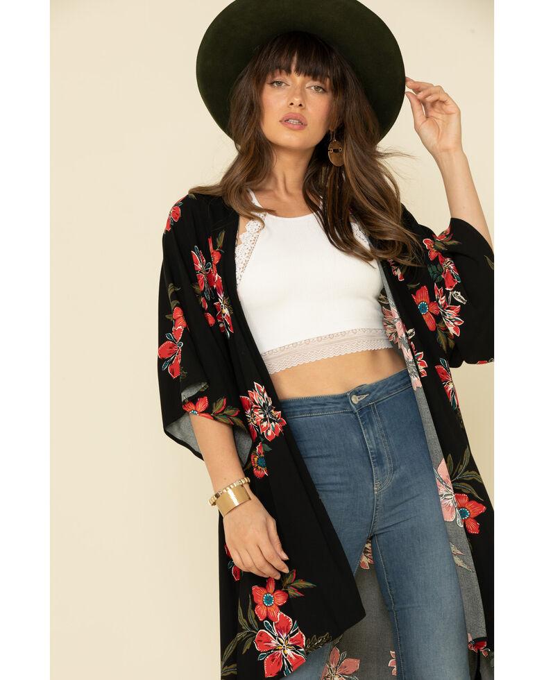 Shyanne Women's Black Floral Kimono  , Black, hi-res