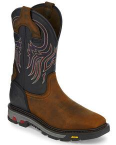Justin Men's Tanker Western Work Boots - Square Toe, Brown, hi-res