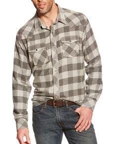 Ariat Men's Natoma Long Sleeve Flannel Shirt, Grey, hi-res