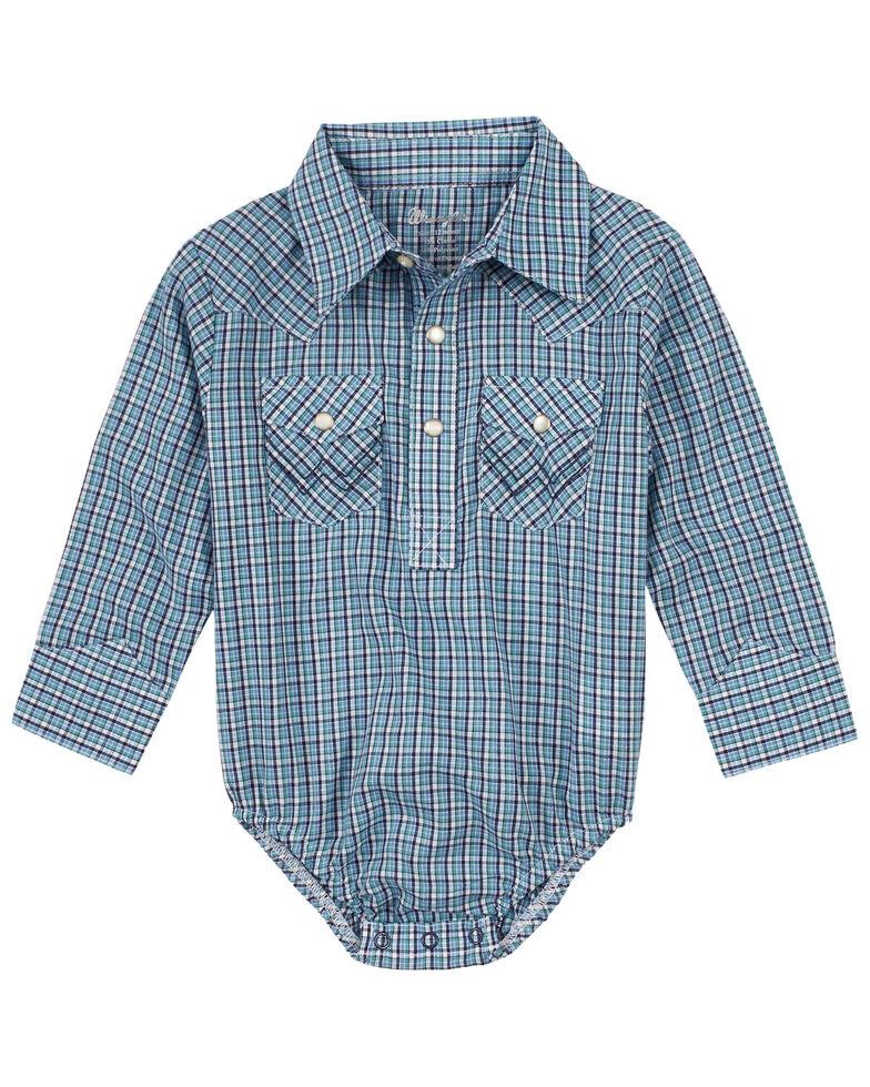 Wrangler Infant Boys' Blue Plaid Long Sleeve Snap Western Onesie , Blue, hi-res
