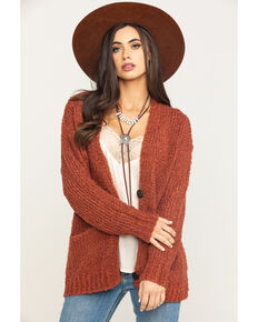 HYFVE Women's Brick Chunky Knit Button Cardigan, Rust Copper, hi-res
