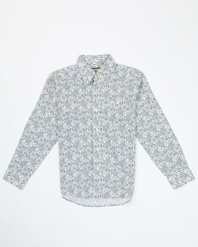 Wrangler Boys' Classic Grey Paisley Print Long Sleeve Button Western Shirt , Grey, hi-res