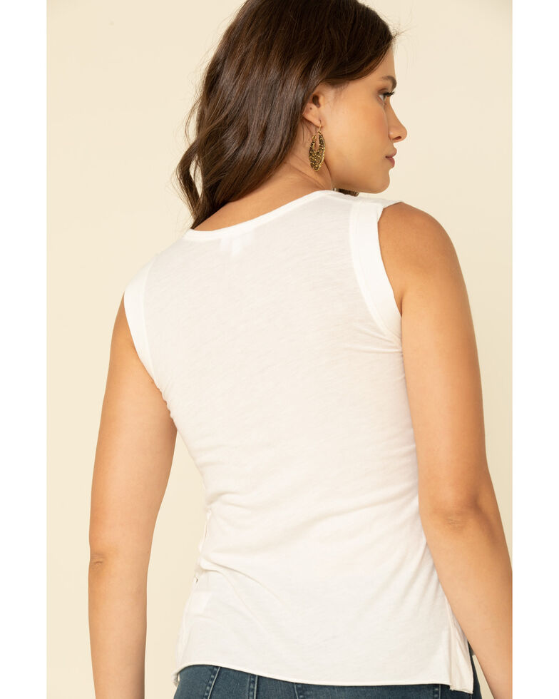 Shyanne Women's Whiskey Summer Lace Up Side Tank Top, Ivory, hi-res
