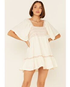 Free People Women's Moonglow Easy To Love Bubble Mini Dress , Natural, hi-res