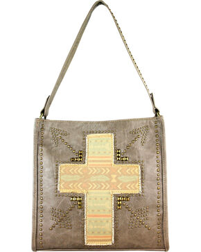 Montana West Spiritual Cross Vintage Print Handbag, Khaki, hi-res