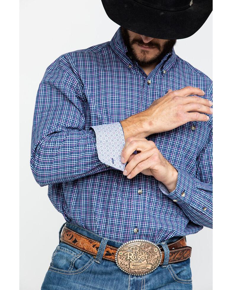 George Strait by Wrangler Men's Small Poplin Plaid Long Sleeve Western Shirt - Big , Navy, hi-res
