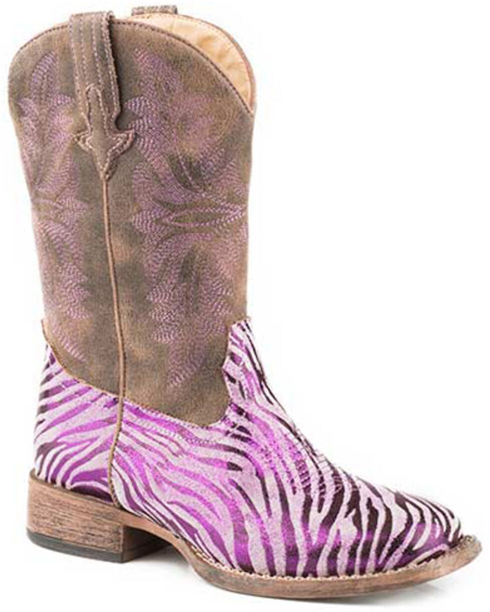 Roper Girls' Metallic Zebra Western Boots - Square Toe, Purple, hi-res