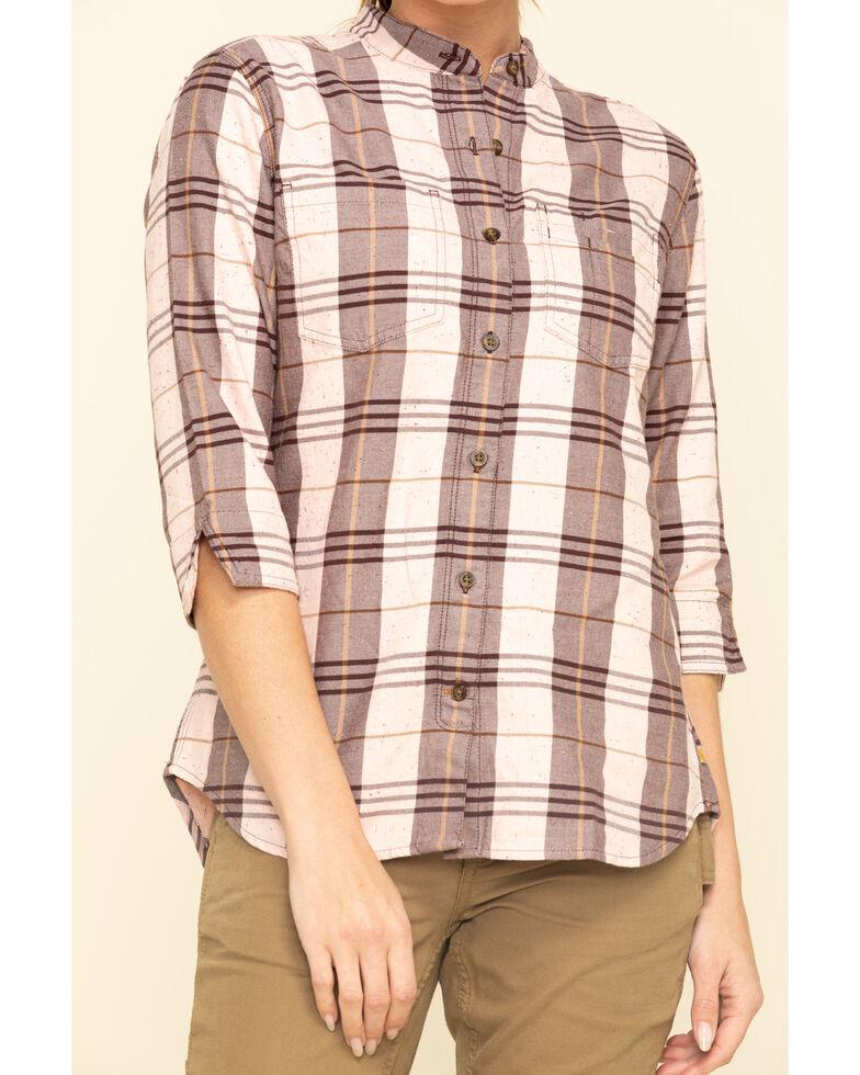 Carhartt Women's Deep Wine Relaxed 3/4 Sleeve Plaid Shirt , Wine, hi-res