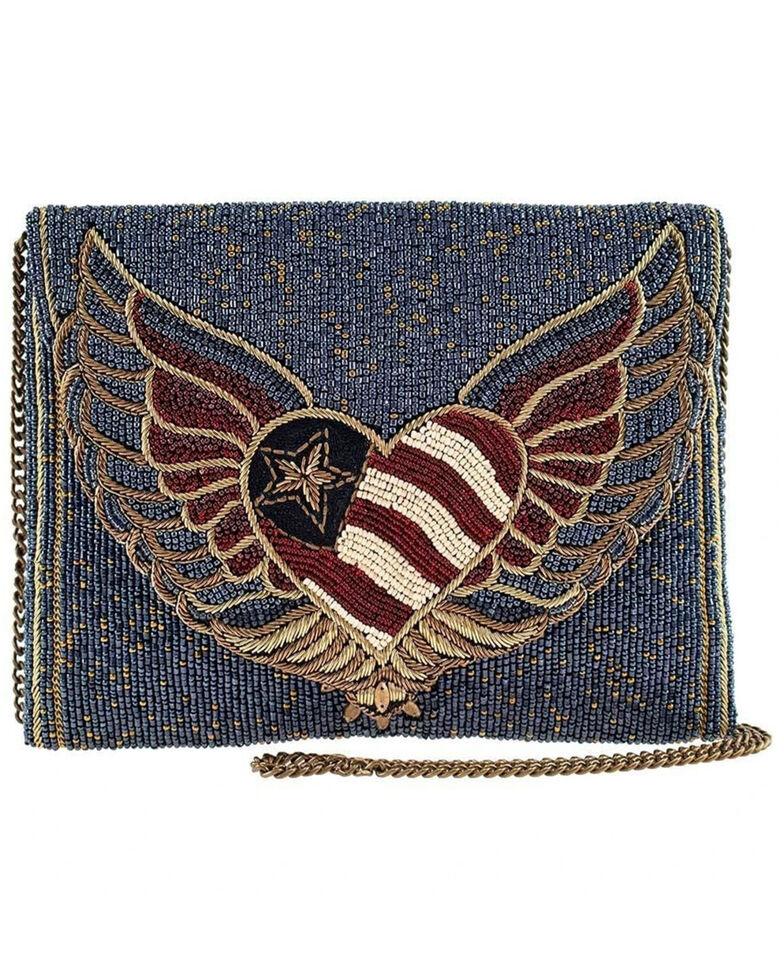 Mary Frances Women's Liberty Beaded Patriotic Heart Crossbody Clutch Handbag, Blue, hi-res