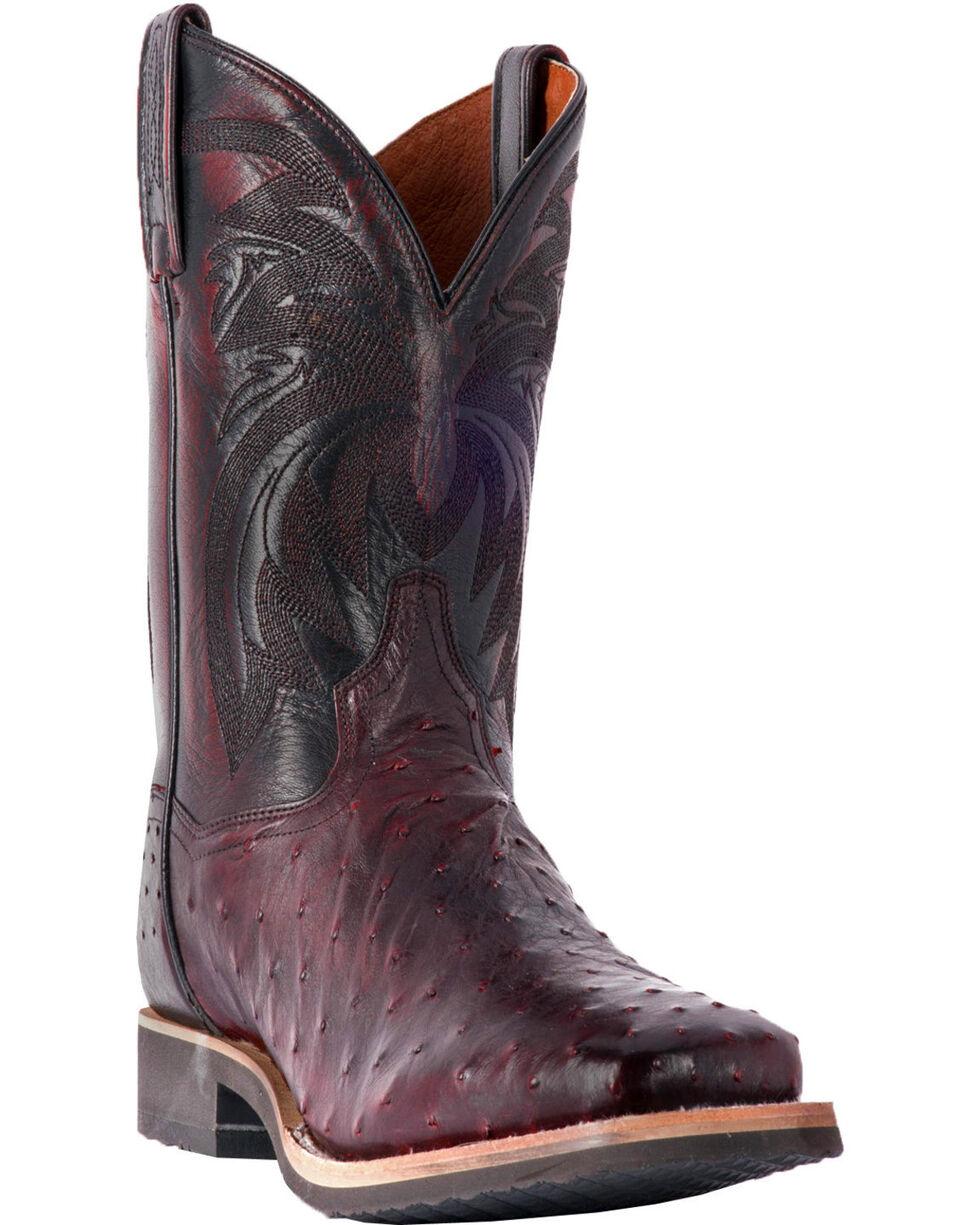 Dan Post Men's Philsgood Black Cherry Full Quill Ostrich Boots - Square Toe, Black Cherry, hi-res
