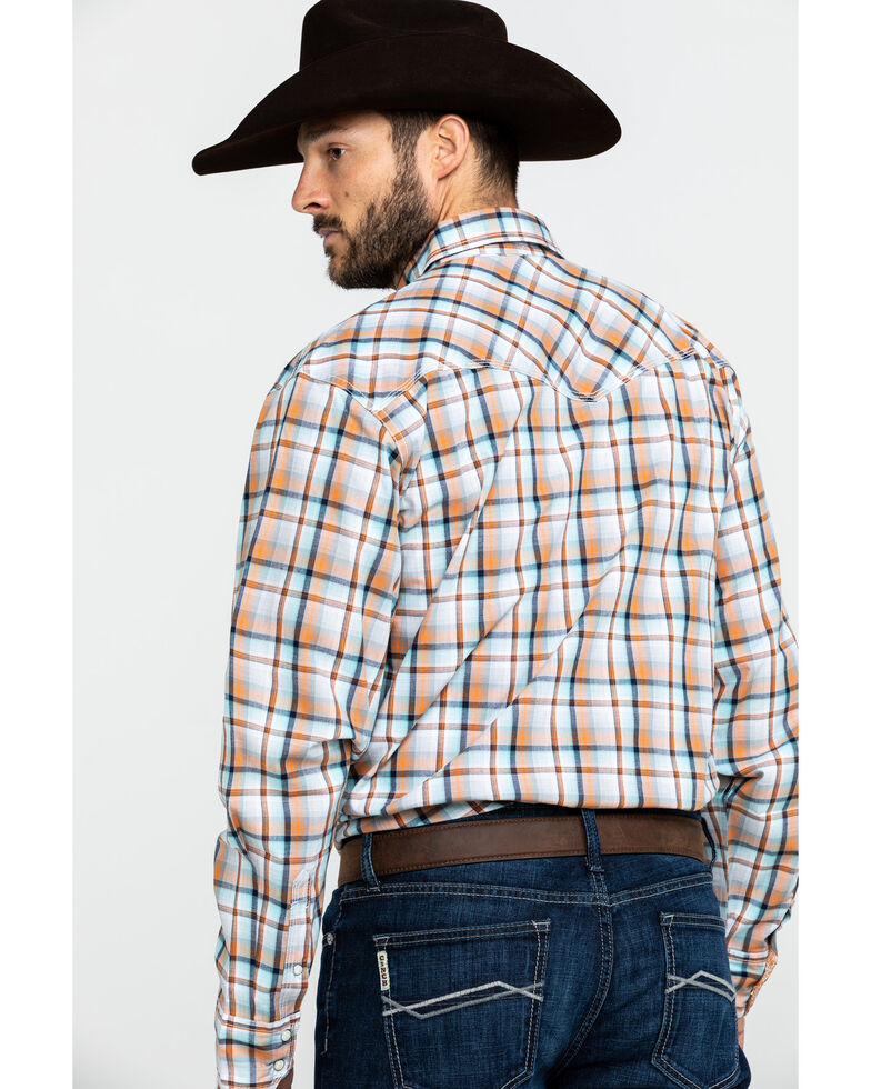 Wrangler 20X Men's Advanced Comfort Orange Plaid Long Sleeve Western Shirt , Orange, hi-res