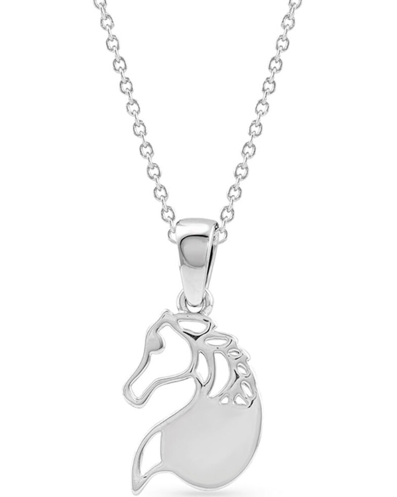 Montana Silversmiths Women's Equine Peace Necklace, Silver, hi-res