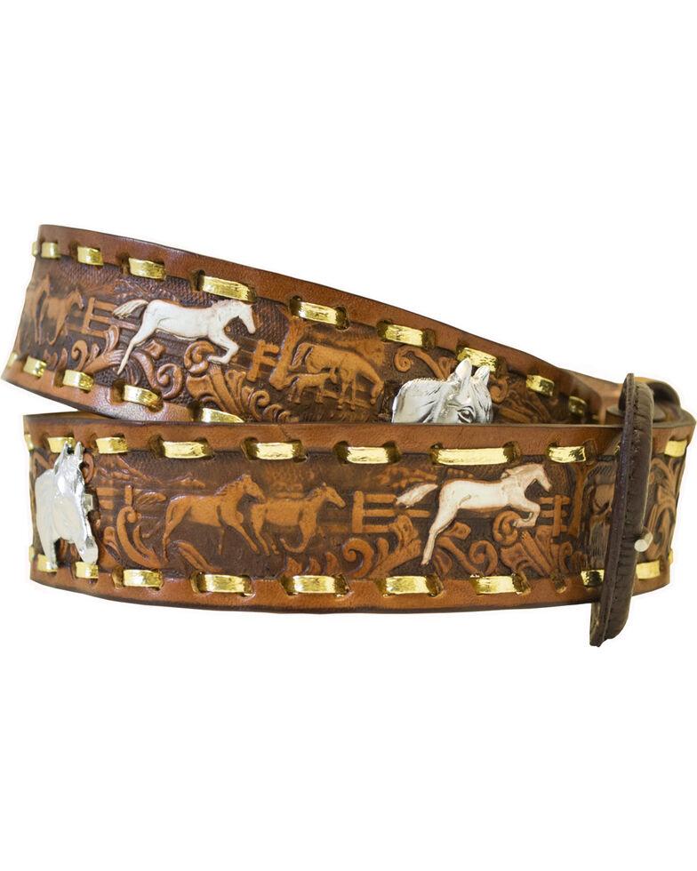 Western Express Men's Brown Leather Running Horses Belt , Brown, hi-res