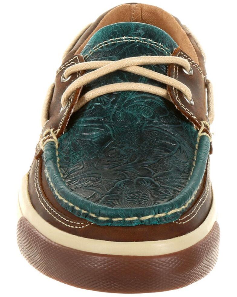 Durango Women's Music City Western Boat Shoes - Moc Toe, Turquoise, hi-res