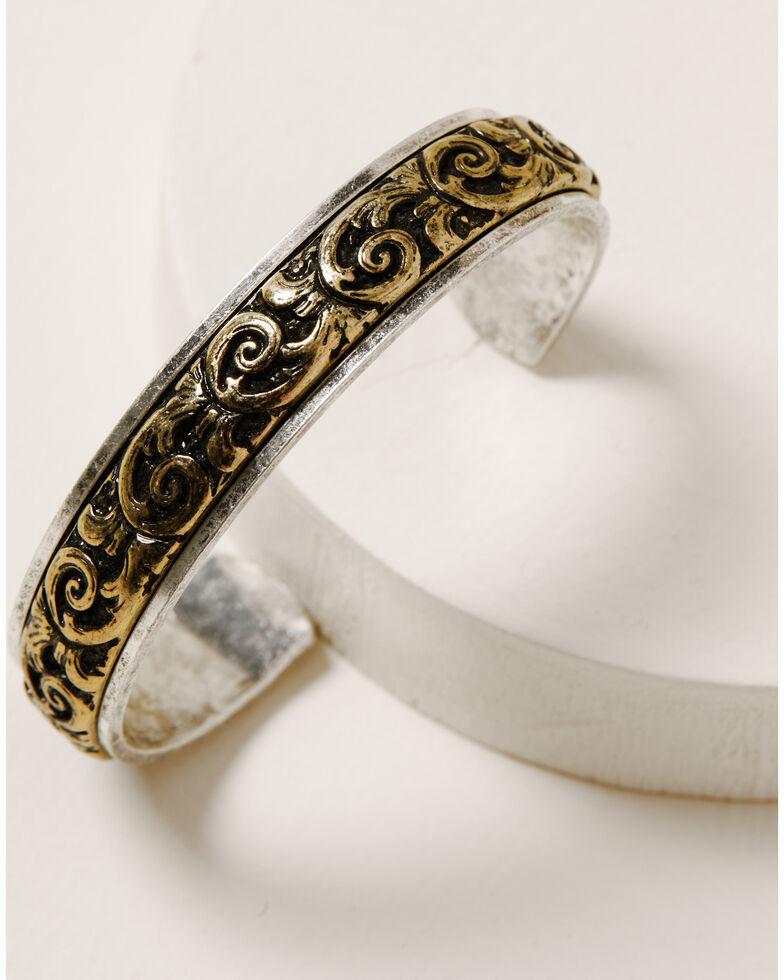 Shyanne Women's Ida Fancy Scroll Cuff Bracelet, Silver, hi-res