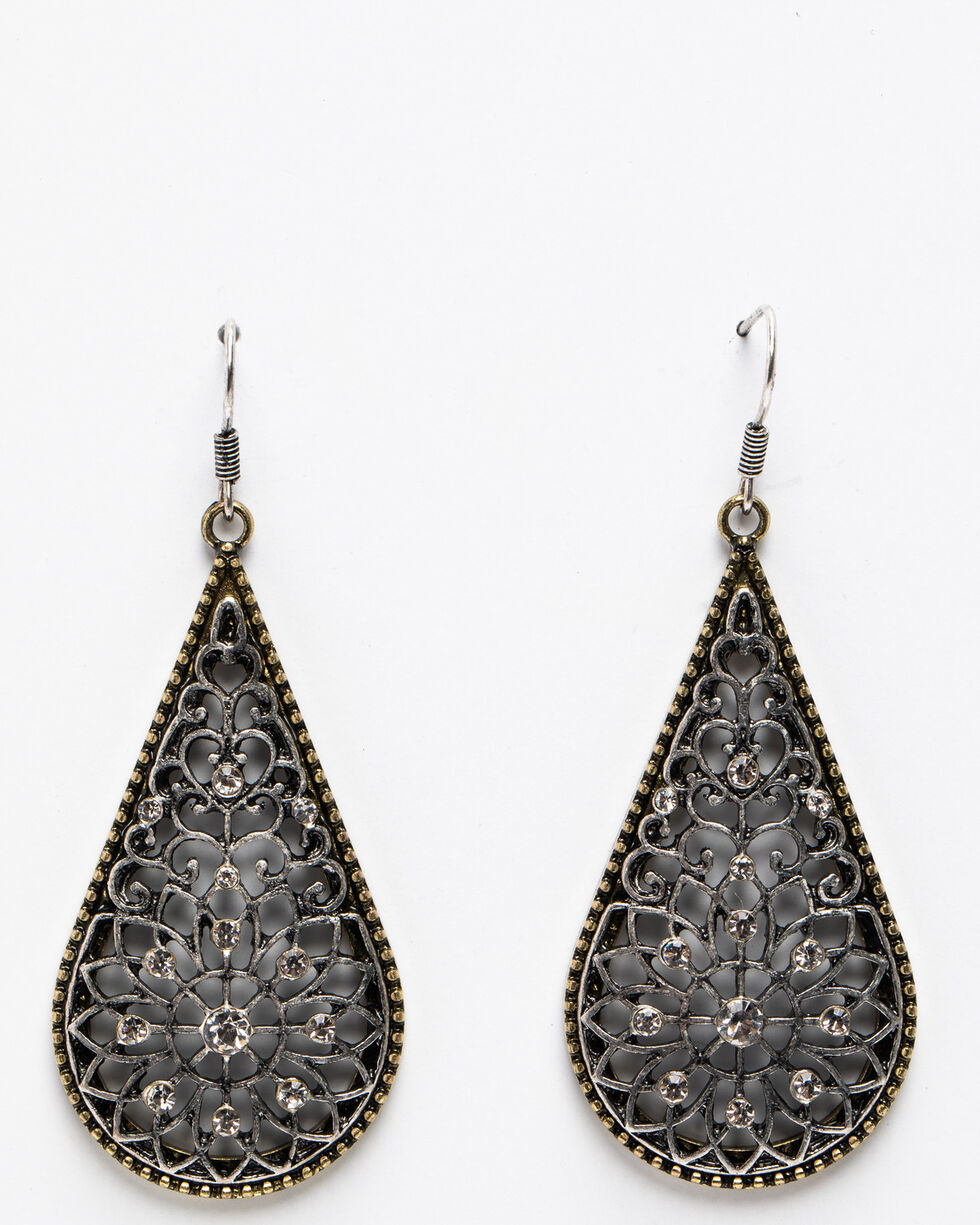 Shyanne Women's Summer Escape Fancy Narrow Filigree Teardrop Earrings, Silver, hi-res
