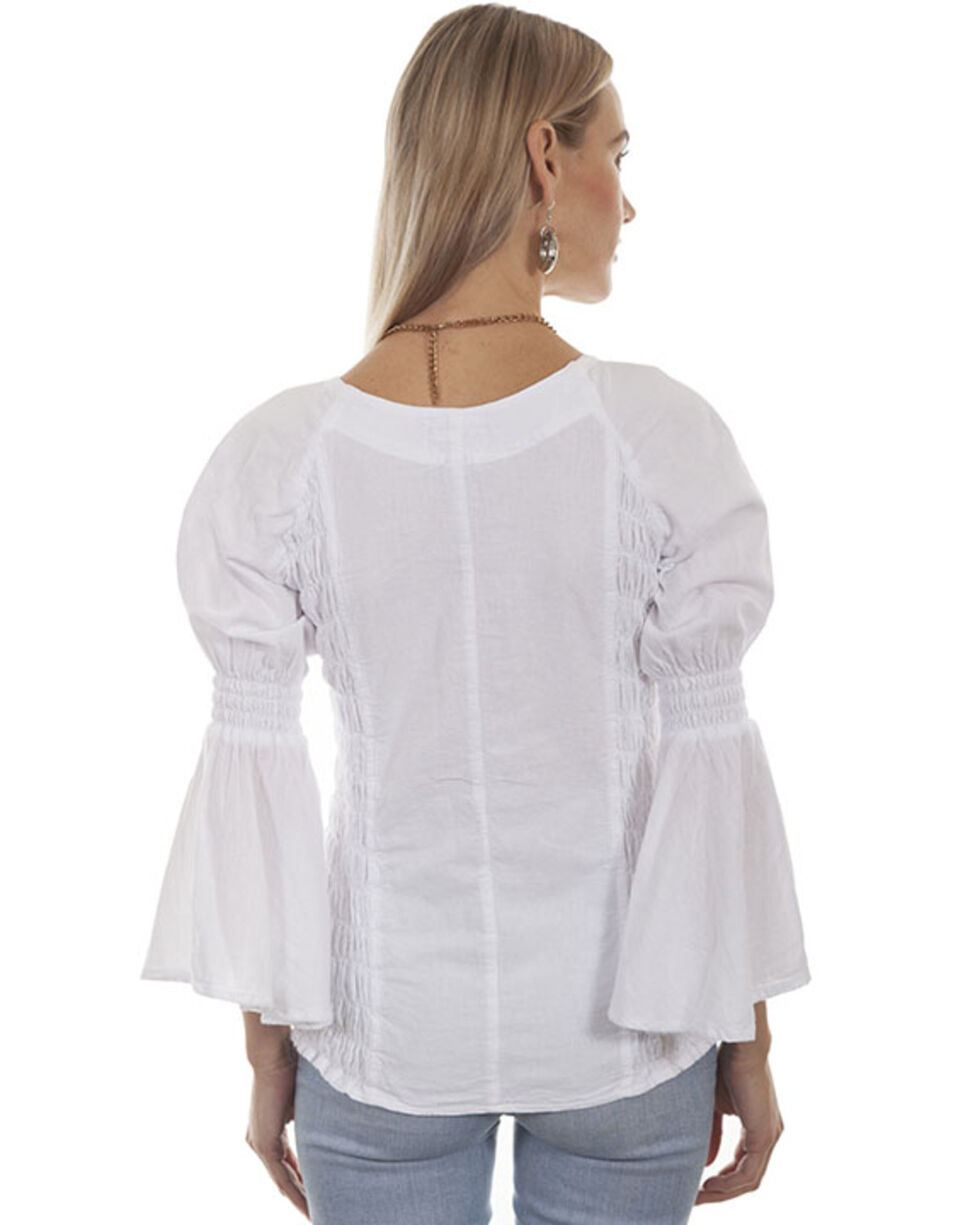 Cantina by Scully Women's White Lace Up Blouse, White, hi-res