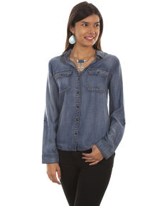 Honey Creek by Sully Women's Denim Hi-Low Lace-Up Blouse, Blue, hi-res