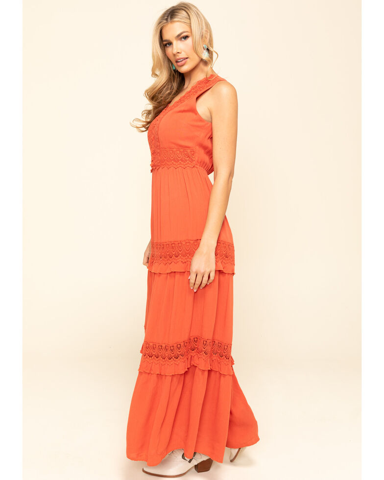 Cotton & Rye Women's Rust Crochet Tiered Maxi Dress, Rust Copper, hi-res