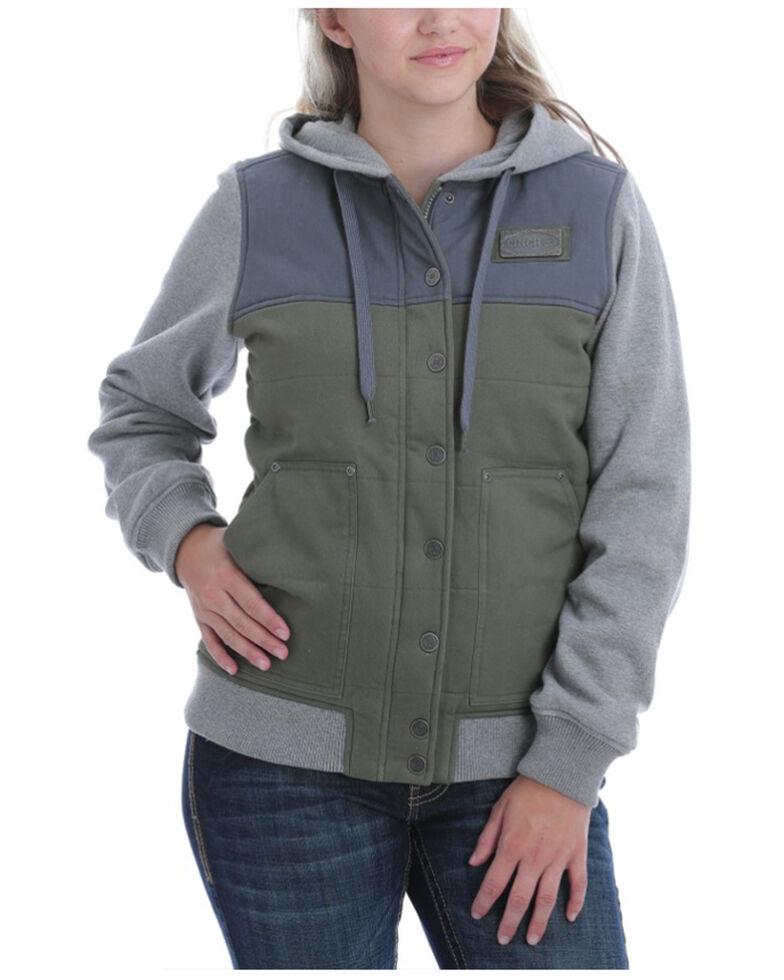 Cinch Women's Women's Olive Color-Blocked Canvas Hooded Sweatshirt , Olive, hi-res
